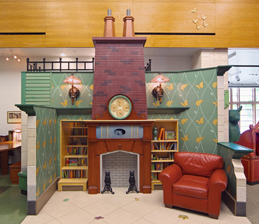 fireplace in bookscape
