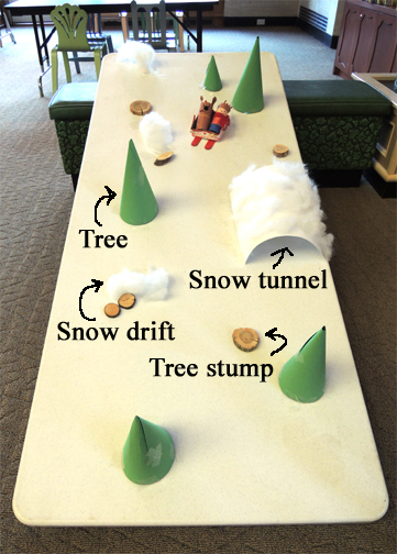 sled run with obstacles