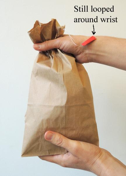grabbing the bag