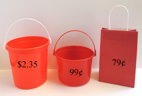 buckets and bag
