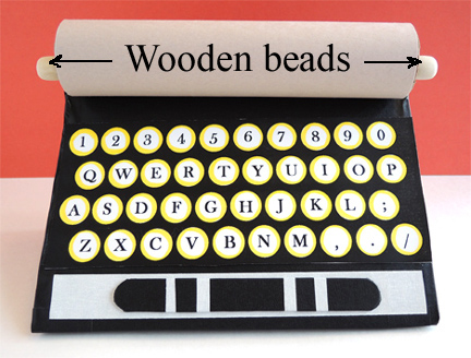 typewriter wooden beads