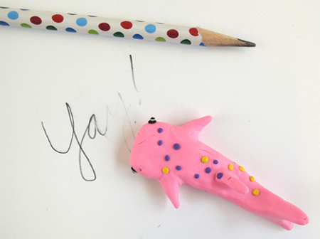 pink shark eraser test