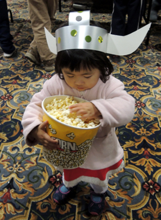 viking enjoying popcorn