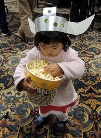 viking enjoying popcorn