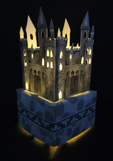 illuminated castle tissue box