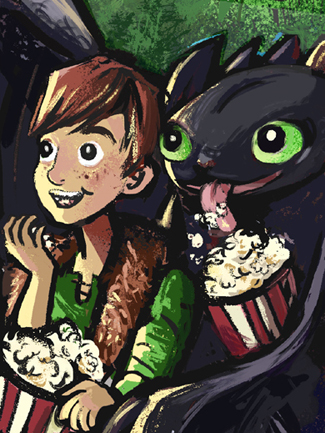 hiccup and tootheless at the movies_artwork by aliisa lee