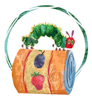 hungry caterpillar food drive logo_artwork by aliisa lee