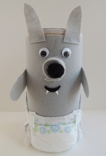 finished baby wolf with diapers