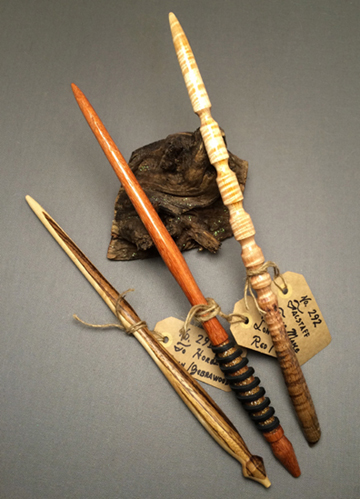 three wands, gray magic woodworking