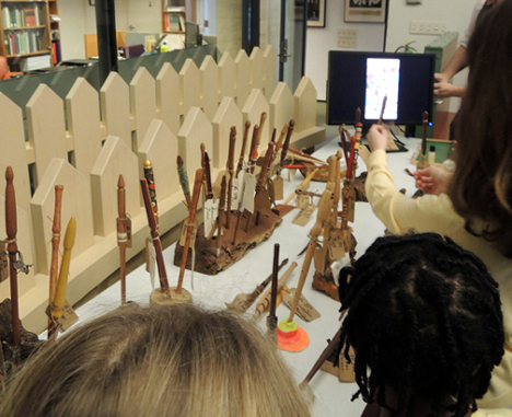 wands on display, gray magic woodworking