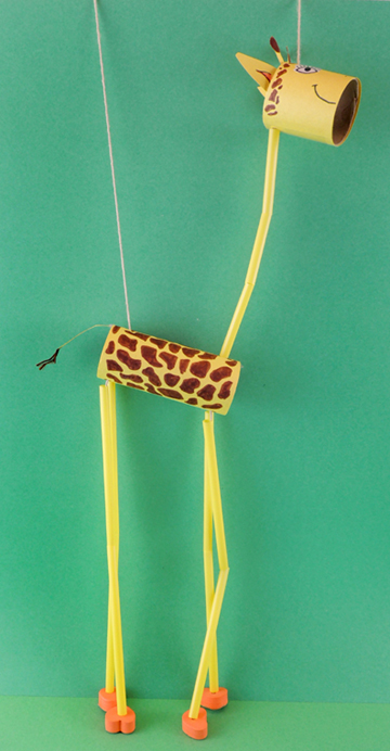 finished giraffe marionette