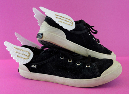 felt wing sneakers cropped
