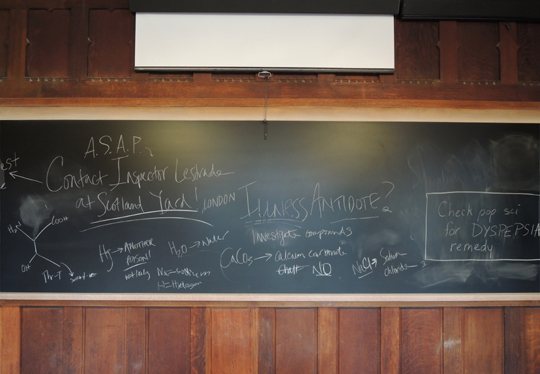 clues on blackboard