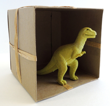 dino in box