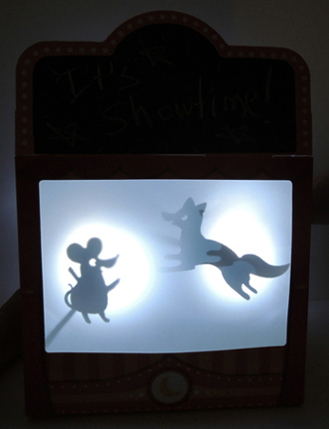 illuminated shadow puppet theater screen