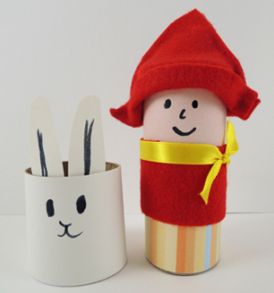 red knit cap girl and bunny