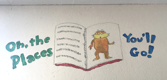 lorax art in recycling library