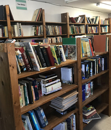 shelves in recycling library