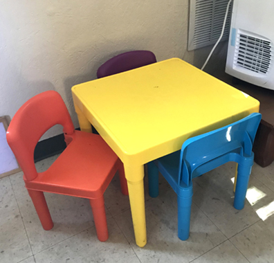 table and chairs in recyling library