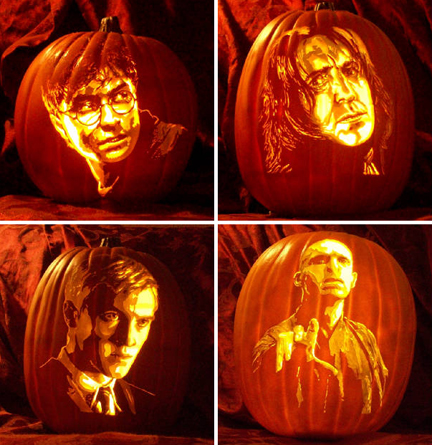 harry potter pumkins by the pumpkin geek