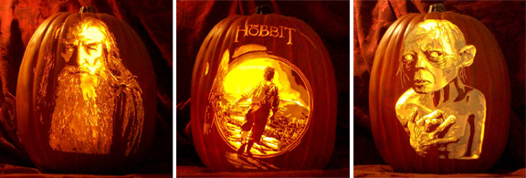 lord of the rings pumpkins by the pumpkin geek