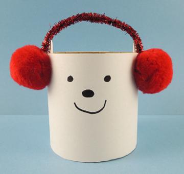 polar bear with earmuffs