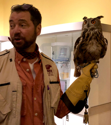 mike dupuy with mr. big owl franklin institute
