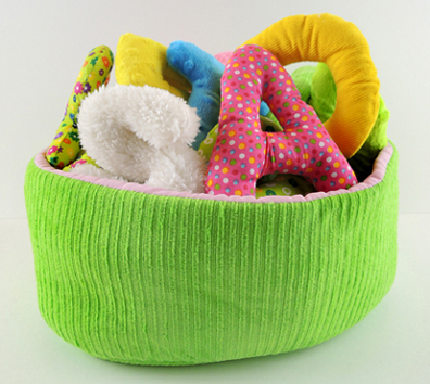 soft sensory alphabet with fabric basket by environments