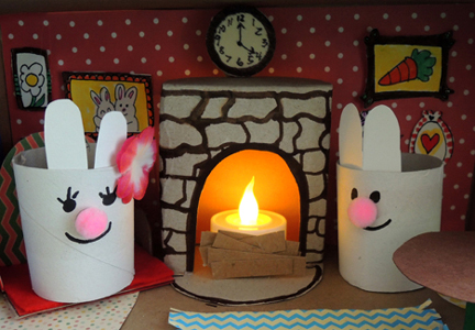 bunnies by the fireplace