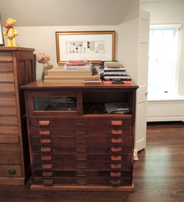 horizontal file drawers in studio