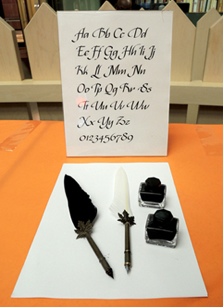 calligraphy set up